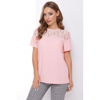 Блуза з мереживною кокеткою пудра р.42-44, 46-48, 50-52