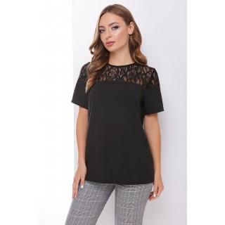 Черная блуза с кружевной кокеткой