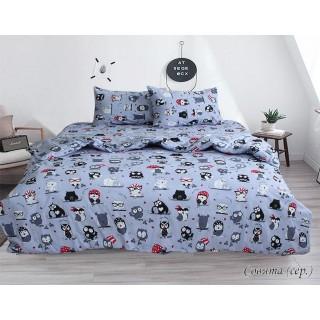 Комплект постельного белья Совята (серый) 160х215см