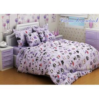 Комплект постельного белья Совята (сиреневый) 160х215см