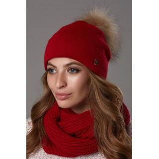 Комплект жіночий (шапка и снуд) Б'янка червоний