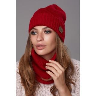 Комплект Божена (шапка + хомут) червоний