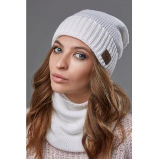 Комплект Божена (шапка + хомут) белый