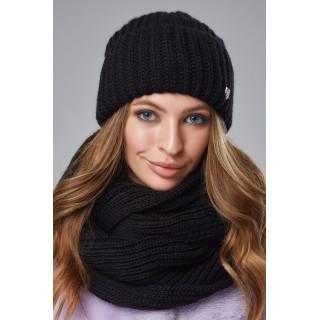 Комплект Джуді шапка та снуд чорного кольору
