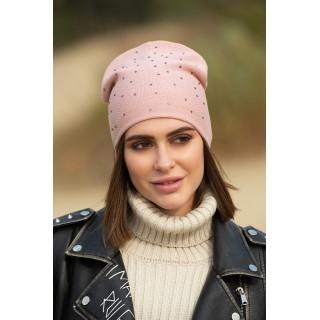 Жіноча пудрова шапка з камінцями