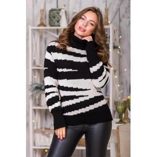 В'язаний теплий светр з горловиною (чорний, льон)
