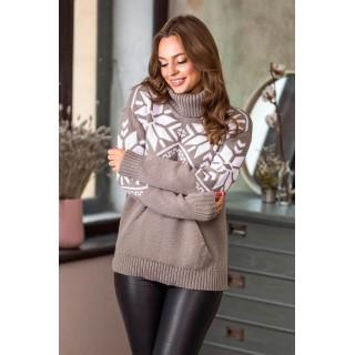 Теплий светр жіночий з кишенями р.44-52 (капучино)