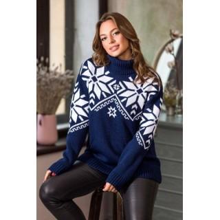 Теплый свитер женский с карманами р.44-52 (синий)