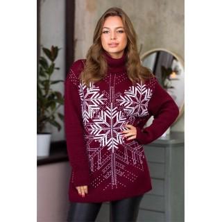 Теплий светр жіночий oversize 44-52 (марсала, білий)