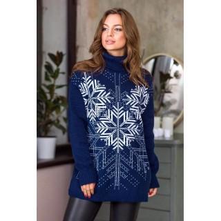 Теплий светр жіночий oversize 44-52 (джинс, білий)