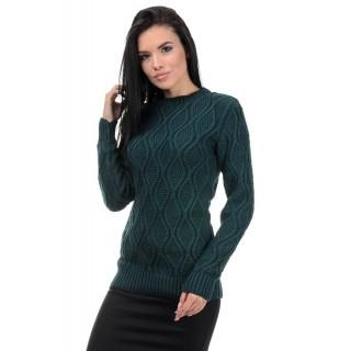 Стильний жіночий светр смарагдового кольору р.44-50
