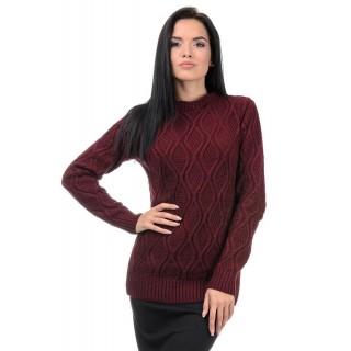 Стильний жіночий светр марсалового кольору р.44-50