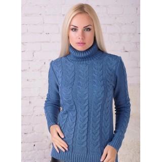 Вязаный свитер София под горло (Джинс)