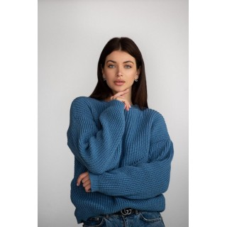 Вязаный свитер E040370 (джинс)