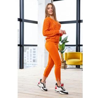 Женский вязаный костюм, цвет оранжевый