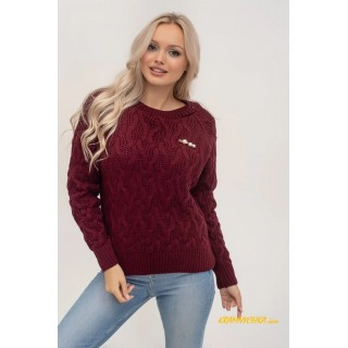 Молодежный вязаный свитер (марсала)