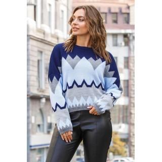 Укорочений светр оверсайз синього кольору