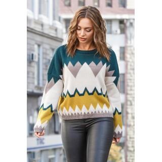 Укорочений светр оверсайз смарагдового кольору