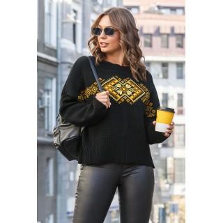Чорний светр з орнаментом р.44-52