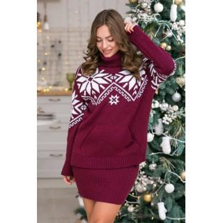 Теплий светр жіночий з кишенями р. 44-52 (марсала)