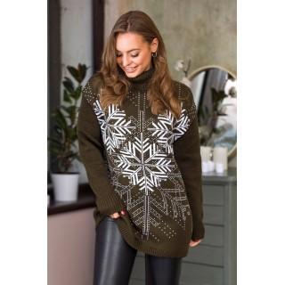 Теплий светр жіночий oversize казка 44-50 (хакі, білий)