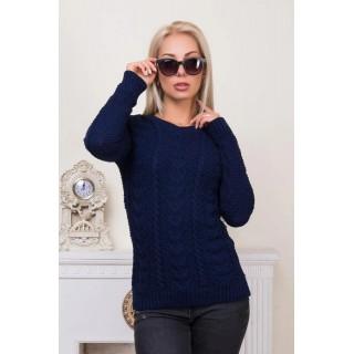 Весняний жіночий синій светр в'язаний недорого