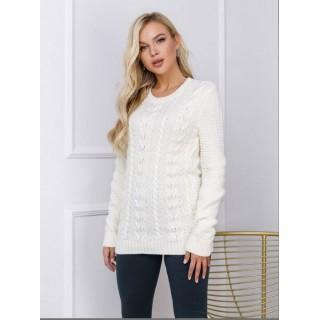 Весенний женский молочный свитер вязаный недорого