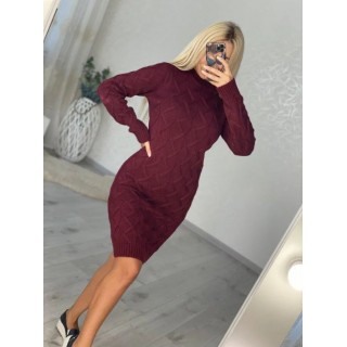 Платье вязаное бордовое B040066 р.42-48