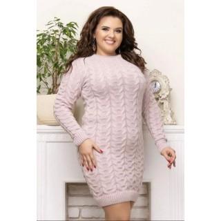 Вязаное женское платье Коса пудра B040072 р.44-50