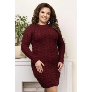 Вязаное женское платье Коса бордовый B040073 р.44-50