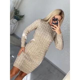 Вязаное платье Коса бежевый B040079 р.42-48