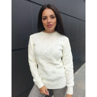 Стильний жіночий светр молочного кольору р.44-50