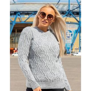 Стильный женский свитер серого цвета р.44-50