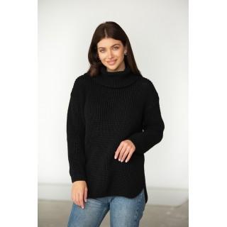 Чорний в'язаний светр під горло, розміри 42-46, 48-52