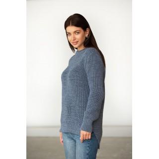 Джинсовий в'язаний теплий светр без люрексу