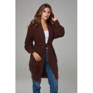 Кардиганы с карманами и поясом, шоколадного цвета