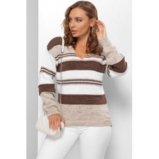 Джемпер з V подібним вирізом коричневий, розмір 44-50