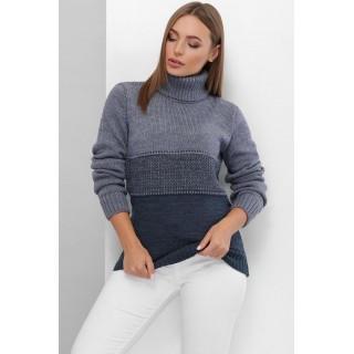 Двоколірний светр під горло р.44-48