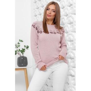 Пудровий жііночий светр з орнаментом