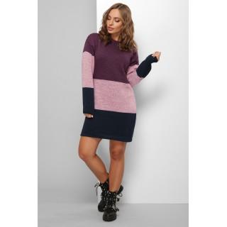 Трехцветное женское платье фиолетового цвета