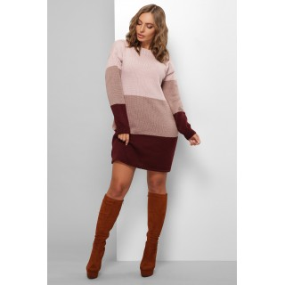 Трьохколірне жіноче плаття пудрового кольору