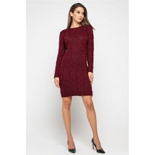 Вязаное платье Лилу марсалового цвета р.42-48