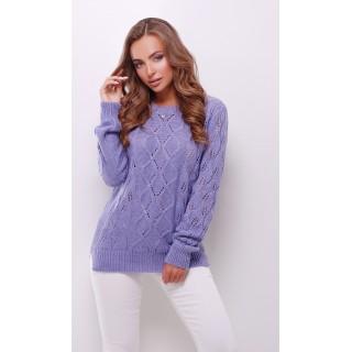 Вязаный свитер лилового цвета