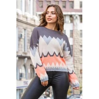 Укорочений светр оверсайз графітового кольору